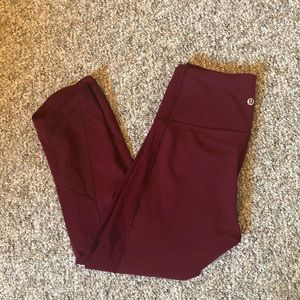Lululemon burgundy mesh side panel leggings